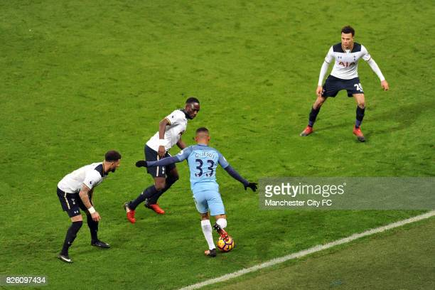 Manchester City's Gabriel Jesus and Tottenham's Kyle Walker Victor Wanyama and Dele Alli during the Premiership match at the Etihad Stadium...