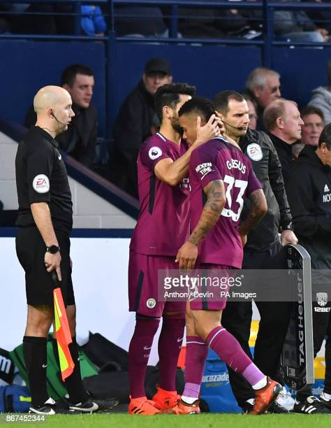 Manchester City's Gabriel Jesus is replaced by Manchester City's Sergio Aguero during the Premier League match at The Hawthorns West Bromwich