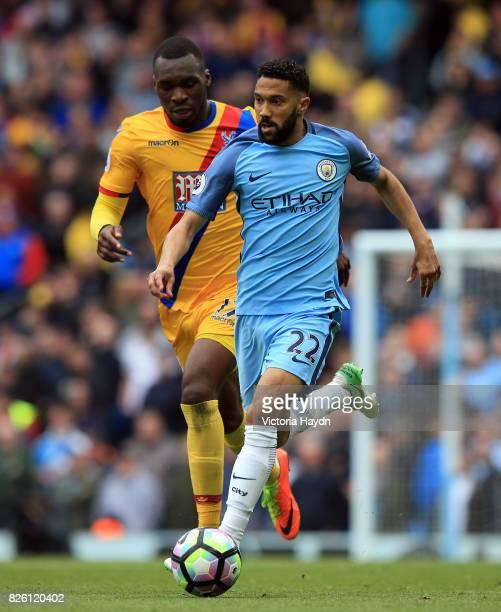 Manchester City's Gael Clichy and Crystal Palace's Christian Benteke