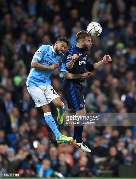 Manchester City's Gael Clichy and Real Madrid's Dani Carvajal battle for the ball