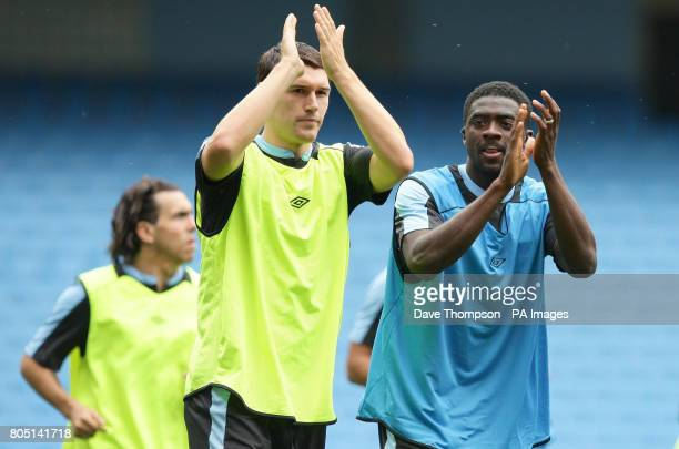 Manchester City's Gareth Barry and Kolo Toure during the training session at The City of Manchester Stadium Manchester