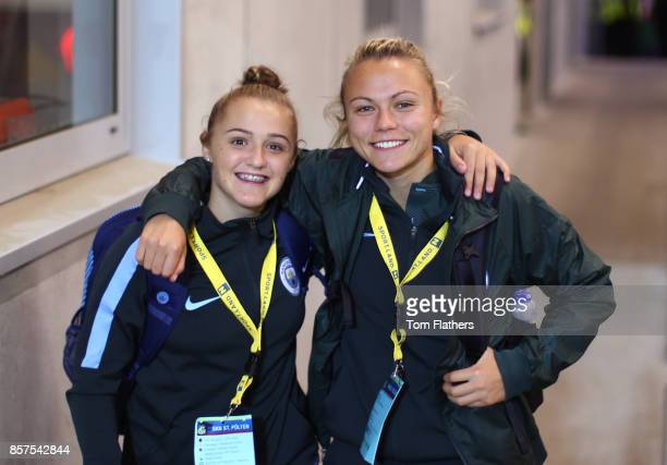 Manchester City's Georgia Stanway and Claire Emslie arrive at the NV Arena ahead of the Champions League fixture against St Polten on October 4 2017...