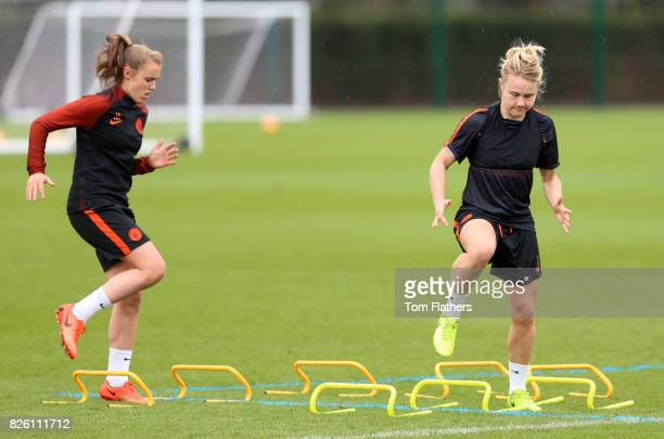 Manchester City's Georgia Stanway and Izzy Christiansen in training