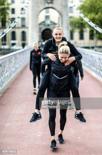 Manchester City's Georgia Stanway and Steph Houghton in Lyon