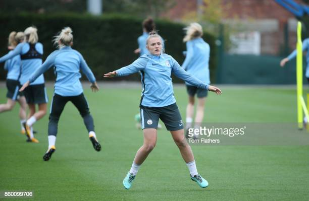 Manchester City's Georgia Stanway during the training at Manchester City Football Academy on October 11 2017 in Manchester England