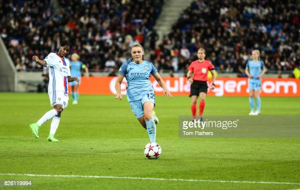 Manchester City's Georgia Stanway in action against Olympique Lyonnais