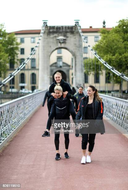 Manchester City's Georgia Stanway Steph Houghton and Kosovare Asllani in Lyon