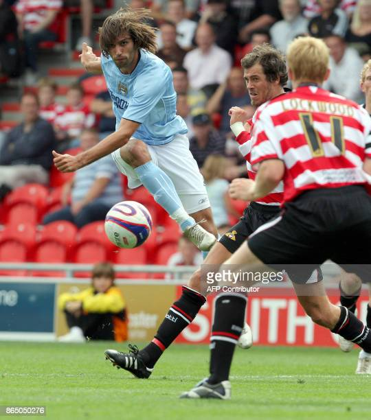 Manchester City's Georgios Samaras tries to score during the first preseason football match against Doncaster Rovers at the Keepmoat Stadium in...