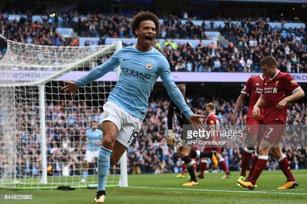 TOPSHOT Manchester City's German midfielder Leroy Sane celebrates after scoring their fourth goal during the English Premier League football match...