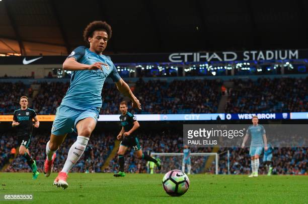 Manchester City's German midfielder Leroy Sane chases down the ball during the English Premier League football match between Manchester City and West...