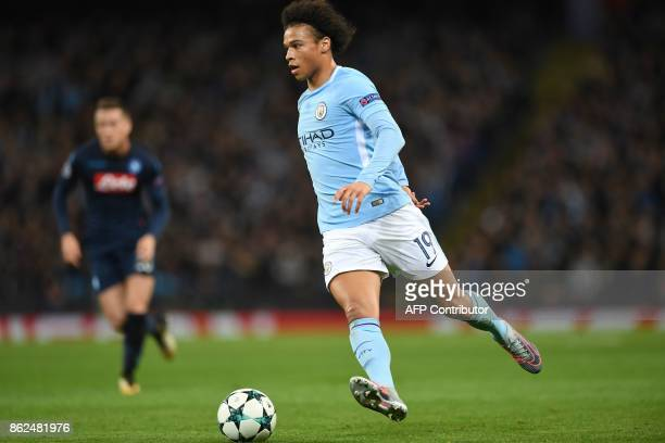 Manchester City's German midfielder Leroy Sane controls the ball during the UEFA Champions League Group F football match between Manchester City and...