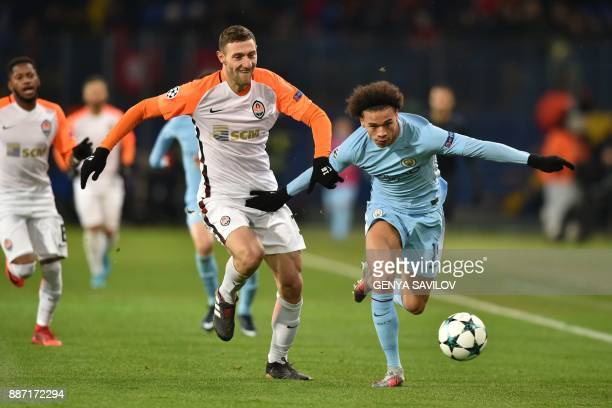 Manchester City's German midfielder Leroy Sane drives the ball ahead of Shakhtar Donetsk's Ukrainian defender Ivan Ordets during the UEFA Champions...