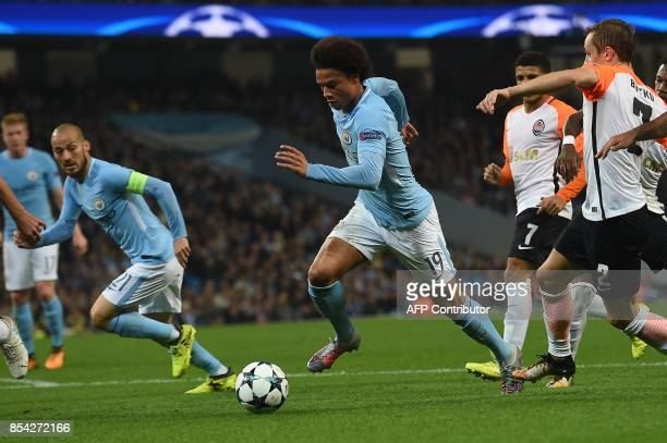 Manchester City's German midfielder Leroy Sane runs at goal but fails to score during the Group F football match between Manchester City and Shakhtar...