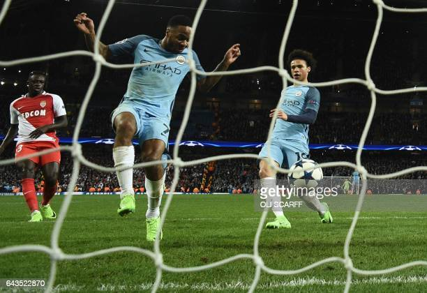 Manchester City's German midfielder Leroy Sane scores their fifth goal during the UEFA Champions League Round of 16 firstleg football match between...
