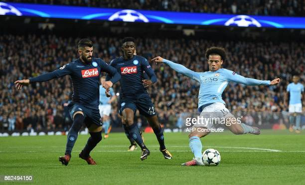 Manchester City's German midfielder Leroy Sane shoots but fails to score during the UEFA Champions League Group F football match between Manchester...