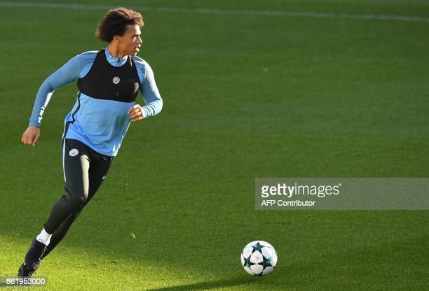 Manchester City's German midfielder Leroy Sane takes part in a team training session at the City Football Academy in Manchester north west England on...