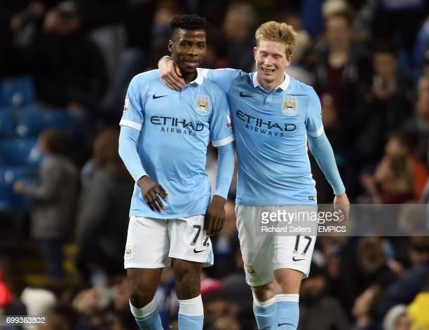 Manchester City's goalscorer's Kelechi Iheanacho and Manchester City's Kevin De Bruyne celebrate