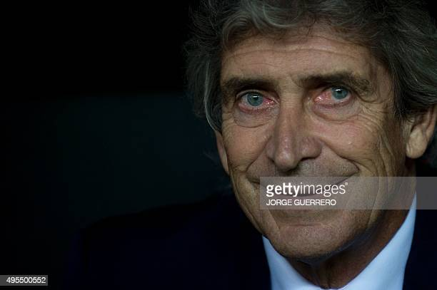 Manchester City's head coach Manuel Pellegrini looks before the UEFA Champions League football match Sevilla FC vs Manchester City at the Ramon...