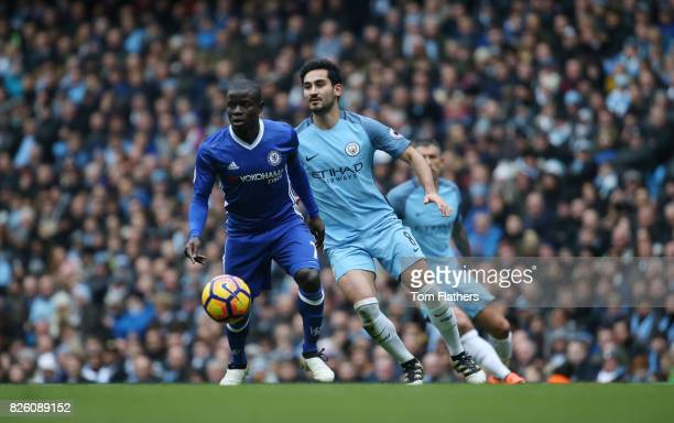 Manchester City's Ilkay Gundogan and Chelsea's N'Golo Kante in action