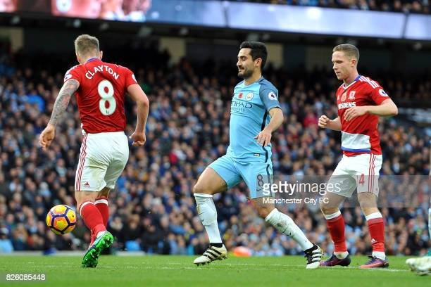 Manchester City's Ilkay Gundogan and Middlesbrough's Adam Clayton and Marten de Roon in action during the Barclay's Premiership match at the Etihad...