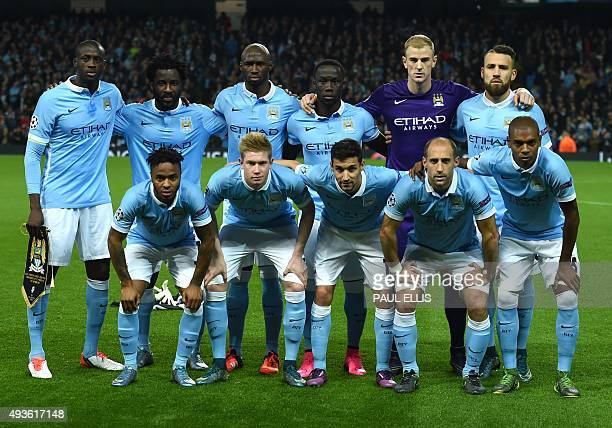 Manchester City's Ivorian midfielder and captain Yaya Toure Manchester City's Ivorian striker Wilfried Bony Manchester City's French defender...