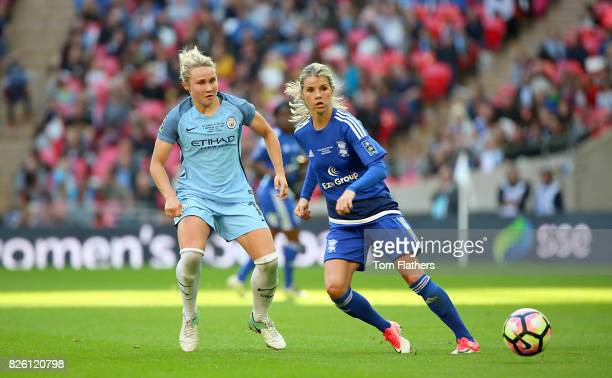 Manchester City's Izzy Christiansen and Birmingham City's Andrine Hegerberg battle for the ball