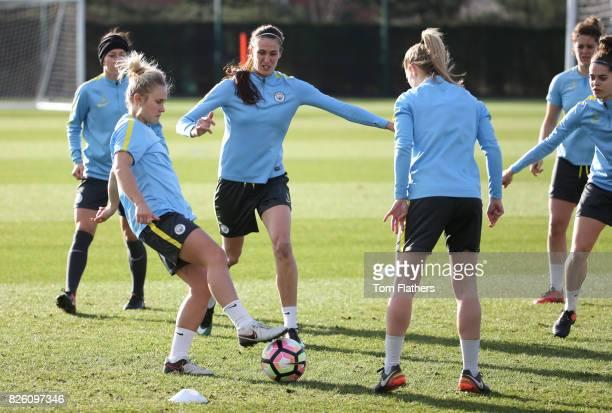 Manchester City's Izzy Christiansen and Jill Scott in training