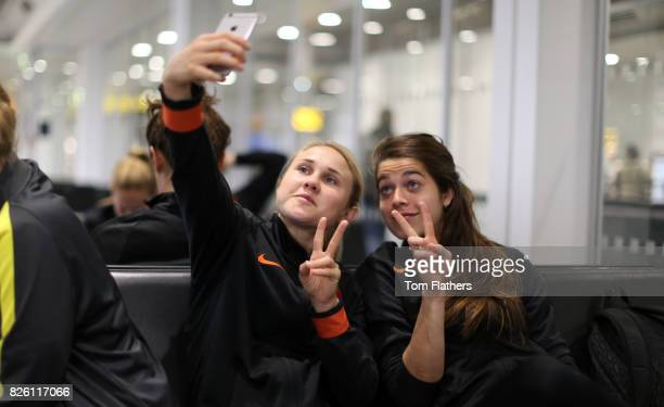 Manchester City's Izzy Christiansen and Tessel Middag at Manchester Airport as they travel for their upcoming Women's Champions League match against...