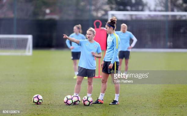 Manchester City's Izzy Christiansen and Tessel Middag in training