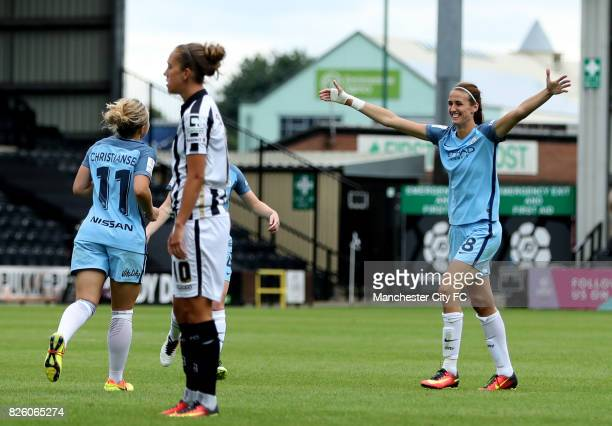 Manchester City's Izzy Christiansen celebrates scoring her sides fifth goal of the game with teammate Jill Scott
