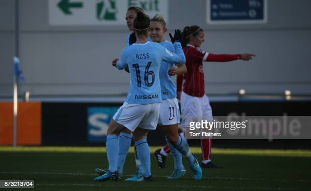 Manchester City's Izzy Christiansen celebrates scoring to make it 10 during the FA WSL match between Manchester City Women and Bristol City Women at...