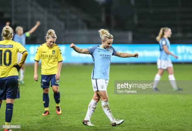 Manchester City's Izzy Christiansen celebrates victory over Brondby IF