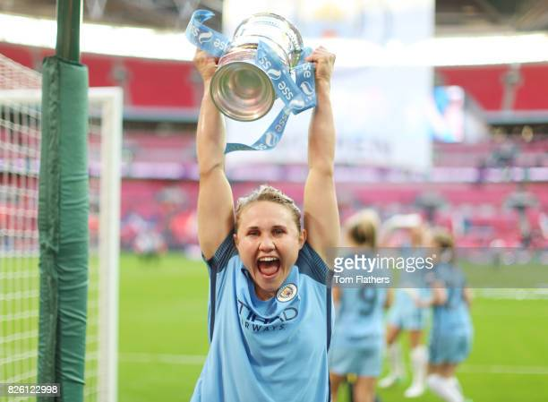 Manchester City's Izzy Christiansen celebrates winning the FA Cup