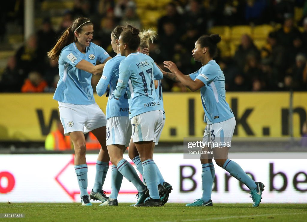 Manchester City's Izzy Christiansen celebrates with her teammates after scoring to make it 2-0 during the UEFA Women's Champions League match between LSK Kvinner and Manchester City Ladies at Arasen Stadion on November 9, 2017 in Lillestrom, Norway.