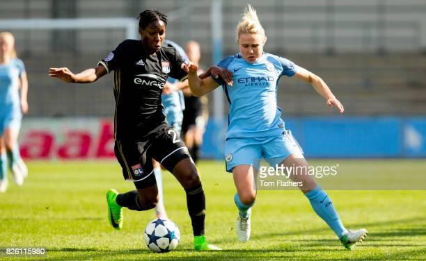 Manchester City's Izzy Christiansen in action against Olympique Lyonnais