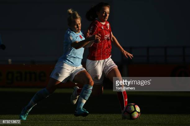Manchester City's Izzy Christiansen in action during the FA WSL match between Manchester City Women and Bristol City Women at The Academy Stadium on...