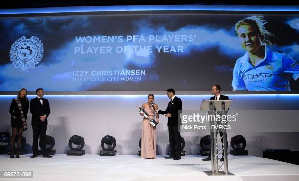 Manchester City's Izzy Christiansen on stage with her PFA Women's Player of the Year Award