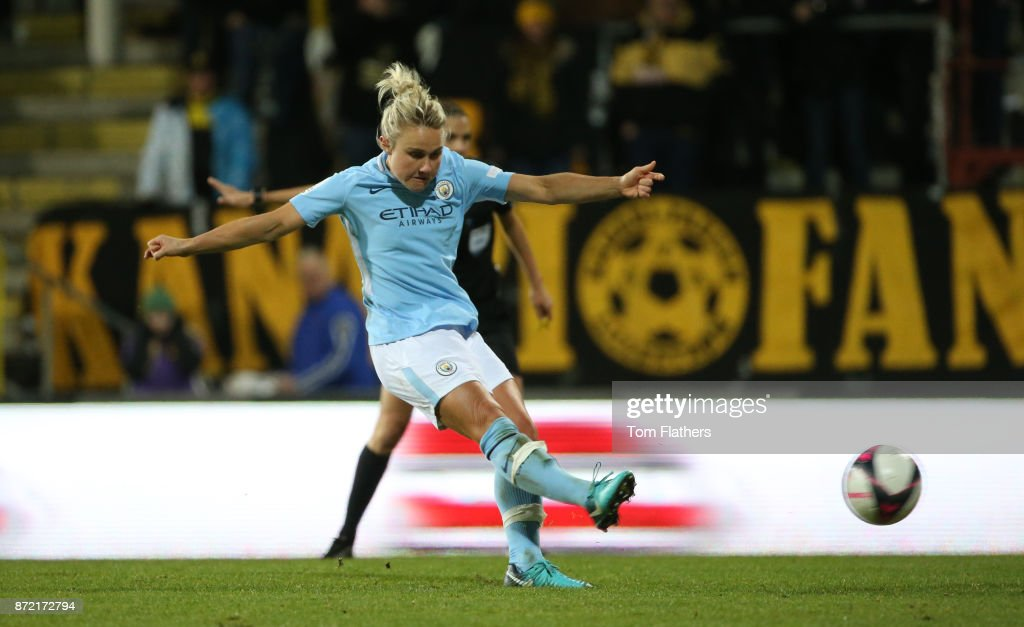Manchester City's Izzy Christiansen scores to make it 2-0 during the UEFA Women's Champions League match between LSK Kvinner and Manchester City Ladies at Arasen Stadion on November 9, 2017 in Lillestrom, Norway.