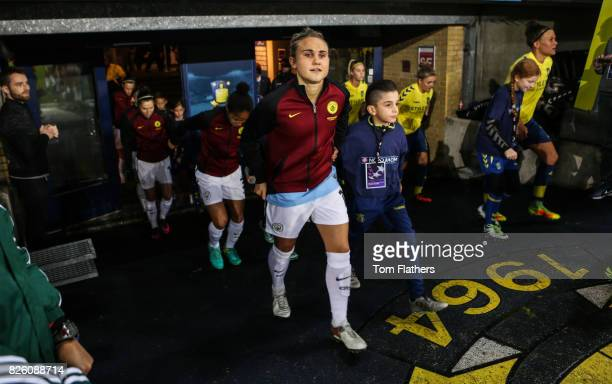 Manchester City's Izzy Christiansen walks out to face Brondby IF