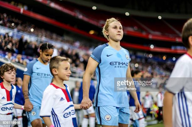 Manchester City's Izzy Christiansen walks out to play against Olympique Lyonnais