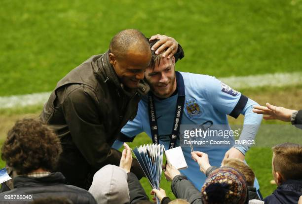 Manchester City's Jack Byrne celebrates with Vincent Kompany at the end of the game against Porto