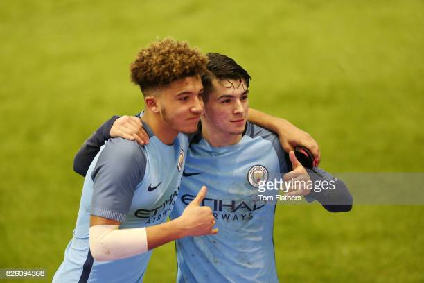 Manchester City's Jadon Sancho and Brahim Diaz