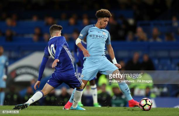 Manchester City's Jadon Sancho and Chelsea's Mason Mount battle for the ball during the FA Youth Cup Final First Leg match at Stamford Bridge London