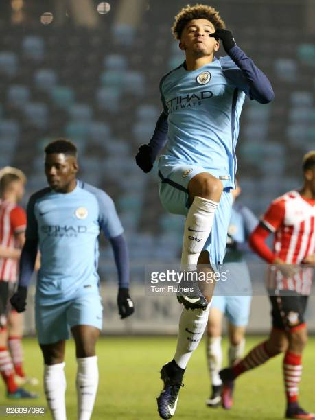 Manchester City's Jadon Sancho celebrates scoring against Southampton