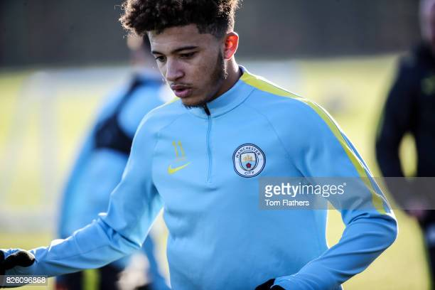 Manchester City's Jadon Sancho during training at City Football Academy
