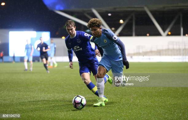 Manchester City's Jadon Sancho in action against Everton