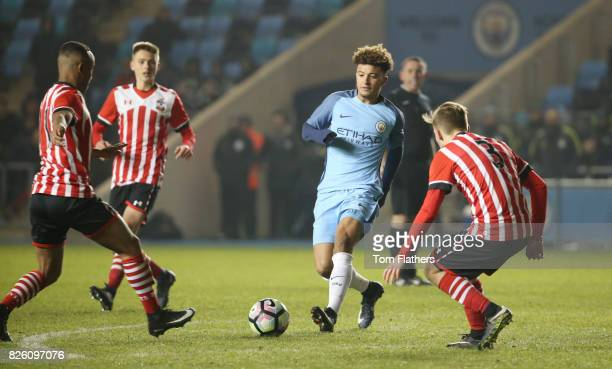 Manchester City's Jadon Sancho in action against Southampton