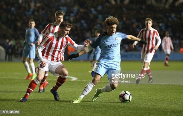 Manchester City's Jadon Sancho in action against Stoke