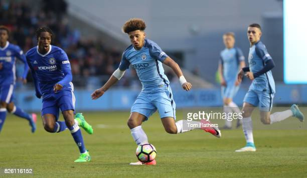 Manchester City's Jadon Sancho in action in the FA Youth Cup Final against Chelsea