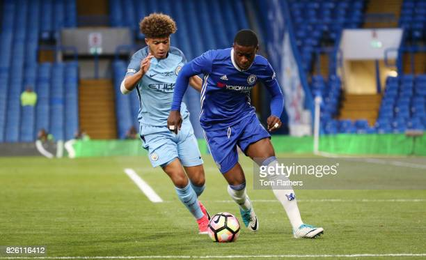 Manchester City's Jadon Sancho in the FA Youth Cup Final against Chelsea